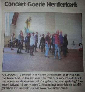 stukje krant concert 15feb2015